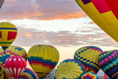 Albuquerque Hot Air Balloon Fiesta 2016. Hot Air Balloons fly over the city of Albuquerque, New Mexico during the mass ascension at the annual International Hot stock photos