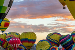 Albuquerque Hot Air Balloon Fiesta 2016. Hot Air Balloons fly over the city of Albuquerque, New Mexico during the mass ascension at the annual International Hot stock image
