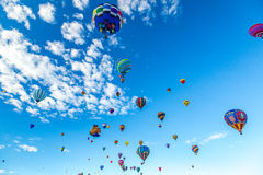 Albuquerque Hot Air Balloon Fiesta 2016. Hot Air Balloons fly over the city of Albuquerque, New Mexico during the mass ascension at the annual International Hot royalty free stock images