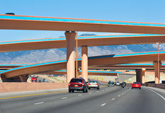 Albuquerque Interstate. A driving view of colorful overpasses along I-40, near Albuquerque Royalty Free Stock Photos
