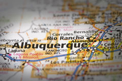 Albuquerque on map. Closeup of Albuquerque, New Mexico on a road map of the United States Stock Images