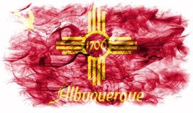 Albuquerque miasta dymu flaga, Nowa - Mexico stan, Stany Zjednoczone Fotografia Royalty Free