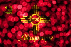 Albuquerque, New Mexico abstract blurry bokeh flag. Christmas, New Year and National day concept flag. United States of America.  vector illustration