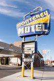 Colorful sign of the Monterey Motel on historic route 66. stock photography