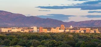 Albuquerque, New Mexico Skyline. ALBUQUERQUE, NM - OCTOBER 12: Albuquerque, New Mexico Skyline at sunset on October 12, 2017 Royalty Free Stock Images