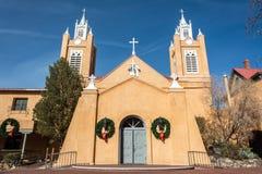 San Felipe de Neri Church, dating from 1793, in Albuquerque, NM. Albuquerque, New Mexico, United States of America - January 3, 2017. Exterior view of San Felipe royalty free stock photos