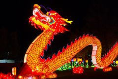 Dragon Chinese Lantern Festival. ALBUQUERQUE, NEW MEXICO, USA- NOVEMBER 12,2017: Chinese Lantern Festival lit up at night to celebrate the Chinese New Year Royalty Free Stock Images