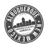 Albuquerque New Mexico USA Round Button City Skyline Design Stamp Vector Travel Tourism. Skyline with emblematic Buildings and Monuments of this famous city royalty free illustration