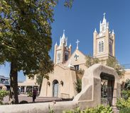 ALBUQUERQUE, Nowy - Mexico Październik 2018: San Felipe De Neri Parafia fotografia stock