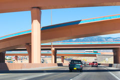 Albuquerque Overpass. A driving view of a colorful overpass along I-40, near Albuquerque, NM stock photos