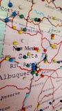 Albuquerque Santa Fe Map Pin Board Immagine Stock