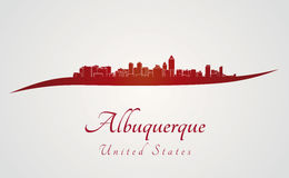 Albuquerque skyline in red Royalty Free Stock Photo