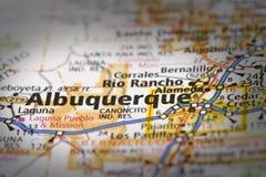 Albuquerque sulla mappa immagini stock