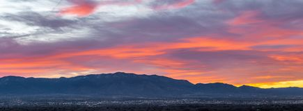 Albuquerque Sunrise. Fiery Red Sunrise Sky Over Sandia Mountains, Albuquerque, New Mexico royalty free stock image