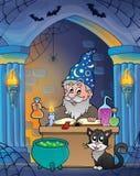 Alcôve de mur avec l'alchimiste Image libre de droits