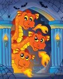 Alcôve de mur avec le thème 1 de dragon Photos stock