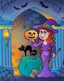 Alcôve de mur avec le thème 4 de Halloween Photographie stock libre de droits