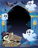 Alcôve de mur avec le thème 1 de Halloween Photographie stock