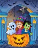 Alcôve de mur avec le thème 7 de Halloween Photo stock