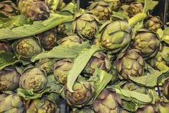 Alcachofas frescas en el mercado de los granjeros en Roma, Italia imagen de archivo libre de regalías