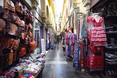 Alcaiceria Market in Granada, Spain. Narrow streets filled with Royalty Free Stock Image