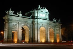Alcala Arch in Madrid Spain Royalty Free Stock Photos