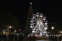 Alcala de Henares, Мадрид, Испания/1-ое декабря 2017: Фото ночи Стоковое Фото