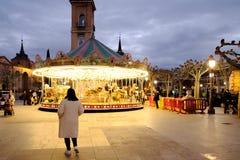 Alcala de Henares, Madrid, Spain- December 5, 2016: Cervantes Sq Royalty Free Stock Photos