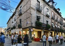 Alcala de Henares, Madrid, Spain. September 8, 2017; Corner between Ramon and Cajal and Mayor streets in the historic center of Al royalty free stock image