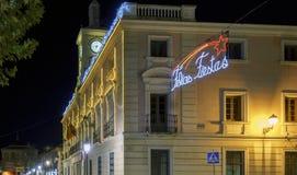 Alcala de Henares, Madrid, Spanien/am 1. Dezember 2017: Nachtaufnahme Lizenzfreie Stockbilder