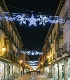 Alcala DE Henares, Madrid, Spanje/December 1, 2017: Nachtfoto Royalty-vrije Stock Foto