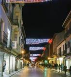 Alcala DE Henares, Madrid, Spanje/December 1, 2017: Nachtschot Stock Foto's