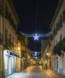 Alcala DE Henares, Madrid, Spanje/December 1, 2017: Nachtschot Royalty-vrije Stock Foto's