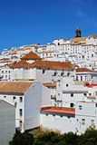 Alcala de los Grazules, Andalusia, Spain. View of the town and houses with a church in the centre, Alcala de los Grazules, Cadiz Province, Andalusia, Spain Royalty Free Stock Images