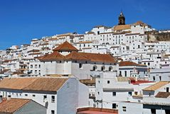 Alcala de los Grazules, Andalusia, Spain. View of the town and houses with a church in the centre, Alcala de los Grazules, Cadiz Province, Andalusia, Spain Royalty Free Stock Photography