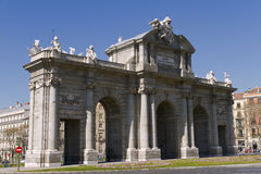 alcala de port madrid puerta Royaltyfria Foton