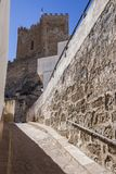 Side view of the village, on top of limestone mountain is situated Castle of the 12TH century Almohad origin, take in Alcala del. Alcala del Jucar, Spain stock photography