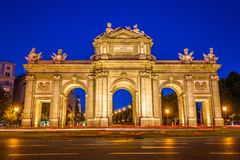 The Alcala Door Puerta de Alcala is a one of the ancient doors. Of the city of Madrid, Spain Royalty Free Stock Images