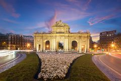 The Alcala Door Puerta de Alcala is a one of the Madrid ancient doors of the city of Madrid, Spain. It was the entrance of royalty free stock photography
