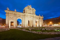 The Alcala Door Puerta de Alcala is a one of the Madrid ancient doors of the city of Madrid, Spain. It was the entrance of royalty free stock photos
