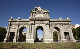 Alcala Gate in Madrid city Stock Photos