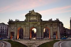 Alcala Gate. Madrid. Spain. Sunset with Alcala Gate in Madrid Royalty Free Stock Images