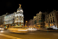 Alcala and Gran Via street in Madrid at night Royalty Free Stock Photo