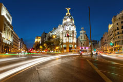 Alcala and Gran Via street in Madrid by night Stock Image