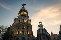 Alcala and Gran Via streets at dusk in Madrid Stock Images