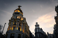 Alcala and Gran Via streets at dusk in Madrid Stock Photo