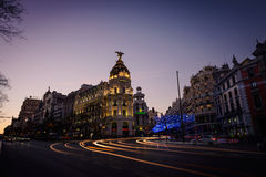 Alcala and Gran Via streets at dusk in Madrid Stock Photography