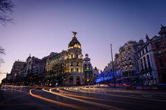 Alcala and Gran Via streets at dusk in Madrid Stock Image