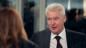Alcalde del político Sergey del estadista de Moscú almacen de video