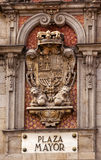 Alcalde Royal Symbol Sign Madrid España de la plaza Imágenes de archivo libres de regalías